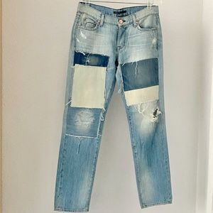 Fidelity Straight Ankle Patched Distressed Jeans